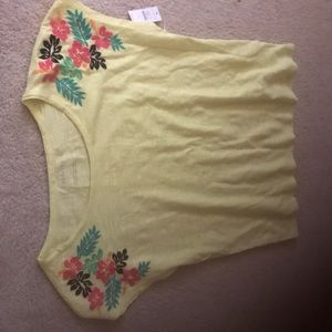 Nwt Talbots neon yellow embroidered tee Sm